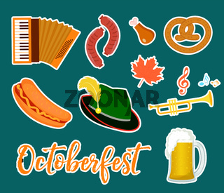 Oktoberfest sticker, flat or cartoon style. Festival in germany collection of traditional symbols, design elements with beer, food, cap. Isolated on white background. Vector illustration