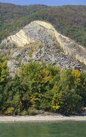 rockfall aside the river Danube