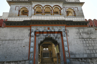 Stone masonry fortified wall and gate at Vitthal Temple, Palashi, Parner, Ahmednagar