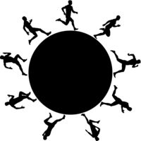 Black silhouette of runners running in circles