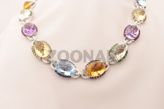 White Gold Necklace With Blue And Yellow Sapphire, Rubies, Amethyst, Green Garnet And Diamonds