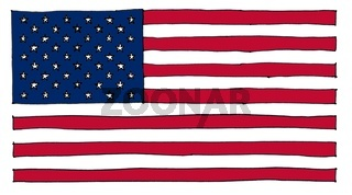 hand drawn American Flag of United States of America