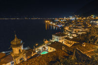 Popular travel destination, Limone on lake Garda at night, Brescia, Lombardy, Italy