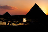 Pyramids and the Sphinx in twilight, Giza, Egypt