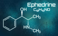Chemical formula of Ephedrine on a futuristic background