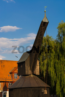 Old harbour and crane in the historic centre of Luneburg, Germany