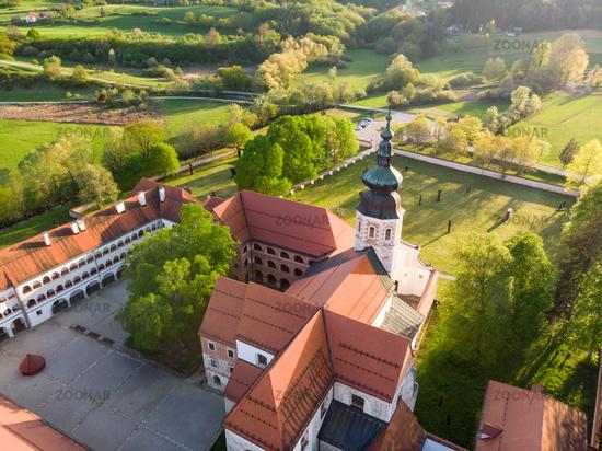 Aerial view of Cistercian monastery Kostanjevica na Krki, homely appointed as Castle Kostanjevica, Slovenia, Europe