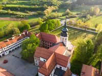 Aerial view of Cistercian monastery Kostanjevica na Krki, homely appointed as Castle Kostanjevica, Slovenia, Europe