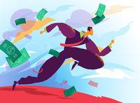 A business man runs toward rich future