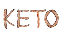 Ketogenic or keto diet  letters from bacon on white background