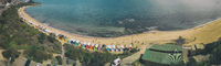 Panoramic aerial view of Brighton Beach colorful huts, Victoria, Australia