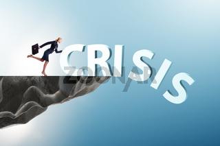 Businesswoman in crisis management concept