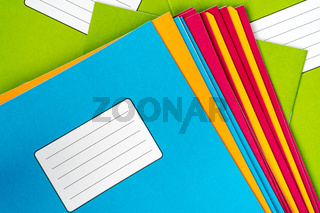 Set of colorful exercise books