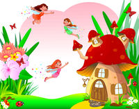 Little joyful fairies fly among flowers and a mushroom house.eps