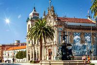 The Baroque twin churches Igreja das Carmeli and Igreja do Carmo with blue azulejo tiles