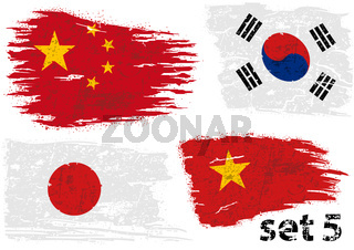 Torn Flag China, South Korea, Japan and Vietnam