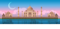 Sunset at Taj Mahal in Agra, India, panoramic vector