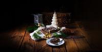 Christmas poppy cake with chocolate.