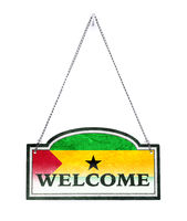 Sao Tome and Principe welcomes you! Old metal sign isolated
