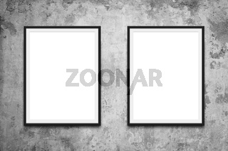 two picture frames hanging on wall mock-up -