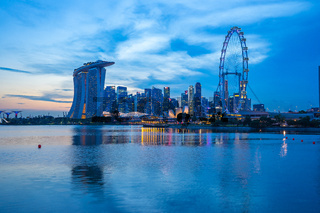 Singapore city skyline with view of Marina Bay.