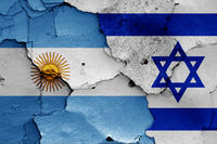 flags of Argentina and Israel