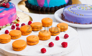Showcase with modern dessert - cakes and sweets