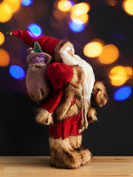 Santa Claus figure bokeh lights