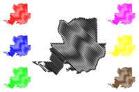 Solano County, California map vector