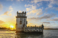 Lisbon Portugal sunrise city skyline at Belem Tower and Tagus River