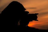 silhouette Sonnenuntergang Fotografin