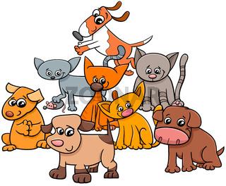 kitten and puppies group cartoon illustration