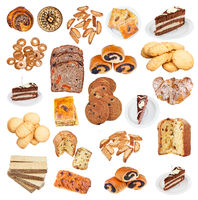 collection from various pastries isolated on white