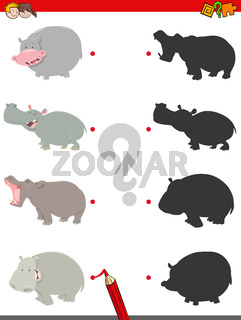 match shadows activity with funny hippos