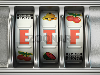 ETF exchange traded fund as jackpot on a slot machine, Successful and profitable investments concept.
