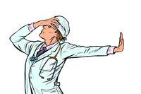 doctor man medicine. shame denial gesture no