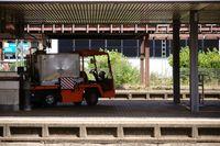 Luggage cart at the platform