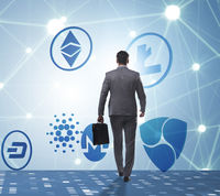 Concept of various cryptocurrencies and businessman