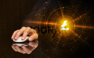 Hand using mouse with cryptocurrency concept