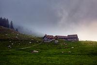 Drei Hüten unterhalb des Säntis in den Alpen