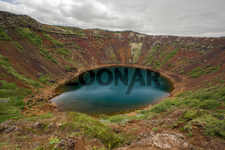 Kerid, volcanic crater lake in the Grimsnes area, south Iceland