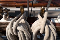 Detail on board of a sailing training ship