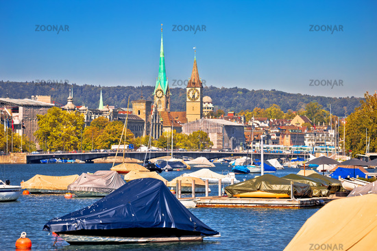 Zurich waterfront landmarks and church colorful view