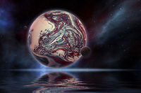 planet in space with water reflection
