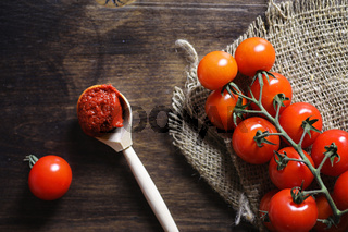 Branch with fresh cherry tomatoes. Ripe red tomatoes. Tomatoes a