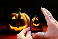 Hands holding mobile phone and shooting halloween pumpkin. View of mobile phone screen during shooti