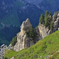Rock formations on Mount Niederhorn. Bernese Oberland, Switzerland.
