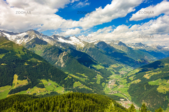 View from Speikboden into the Ahrntal valley, South Tyrol, Italy