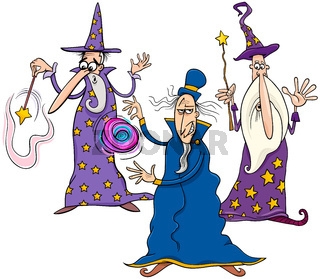 funny wizards cartoon characters group