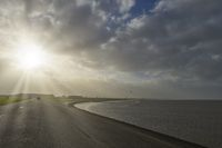 Norddeich beach in the backlight of the low sun